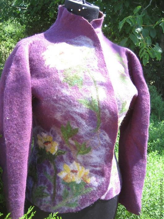 """Пиджаки, жакеты ручной работы. Ярмарка Мастеров - ручная работа. Купить Жакет """"Фиолетовые дали"""". Handmade. Фиолетовый, жакет из шерсти"""
