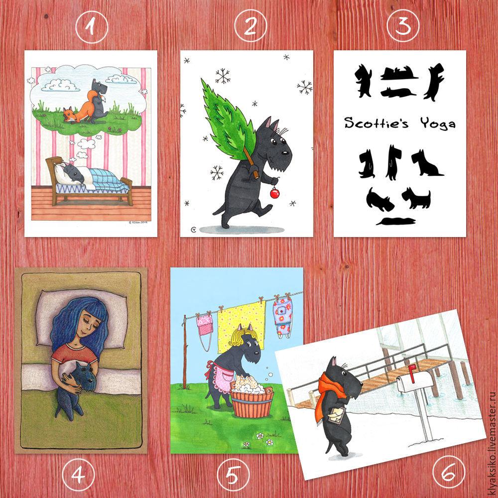Авторские открытки с изображением скотч-терьеров `Мои талантливые скотчики`. 10x15 см.