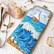 Сумки и аксессуары handmade. Livemaster - original item Eyeglass case beaded Sea. Handmade.