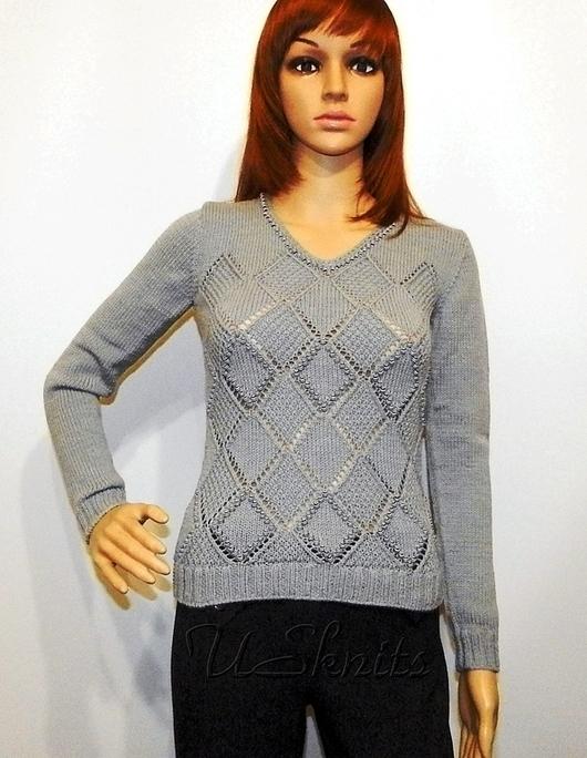 Кофты и свитера ручной работы. Ярмарка Мастеров - ручная работа. Купить Вязаный свитер ажурными ромбами с бусинами. Handmade. Серый