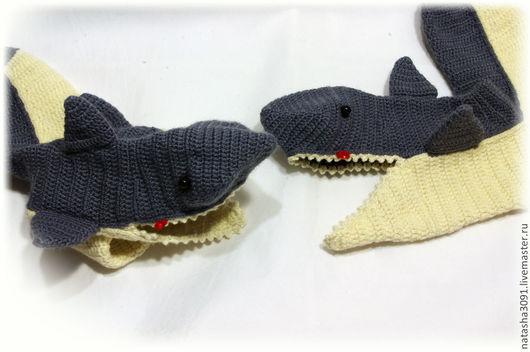 """Носки, Чулки ручной работы. Ярмарка Мастеров - ручная работа. Купить Носки """"Акулы"""". Handmade. Темно-серый, Носки шерстяные"""