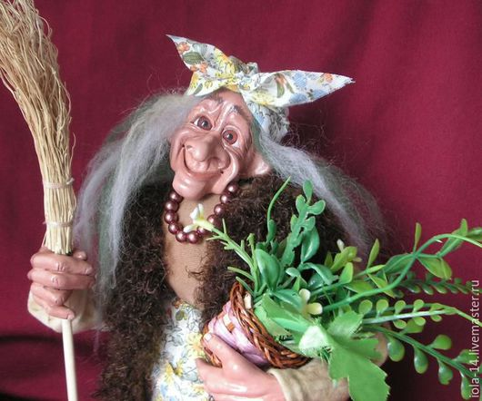 Сказочные персонажи ручной работы. Ярмарка Мастеров - ручная работа. Купить Баба-Яга с травками. Handmade. Комбинированный, самоотвердевающий пластик