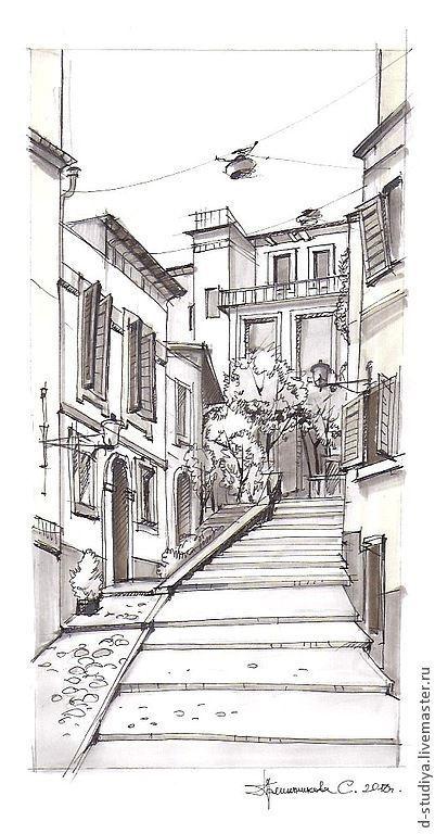 Город ручной работы. Ярмарка Мастеров - ручная работа. Купить Италия. Handmade. Белый, итальянский пейзаж, виды Италии