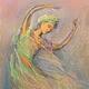 Люди, ручной работы. Ярмарка Мастеров - ручная работа. Купить Восточный танец Картина пастель 13х18. Handmade. Оливковый, балет