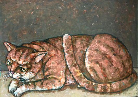 """Животные ручной работы. Ярмарка Мастеров - ручная работа. Купить """"Рыжий кот"""" работа маслом. Handmade. Оранжевый, рыжий кот"""