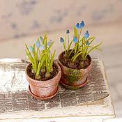 Miniature figurines handmade. Livemaster - original item Muscari in pot scale 1: 12. Handmade.