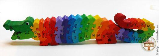 Развивающие игрушки ручной работы. Ярмарка Мастеров - ручная работа. Купить Аллигатор деревянный паззл английский алфавит. Handmade.