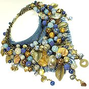 Украшения handmade. Livemaster - original item Western in Denim Colours. Natural stones, denim. 2 necklace. Handmade.