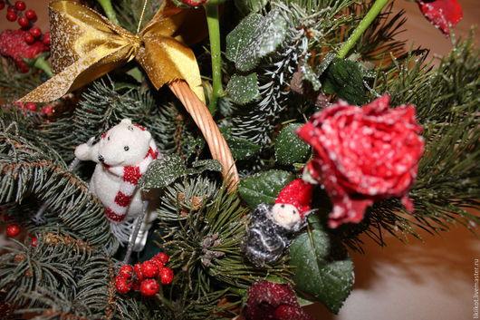 Интерьерные композиции ручной работы. Ярмарка Мастеров - ручная работа. Купить Новогодний приют для медведя. Handmade. Комбинированный, цветочная композиция