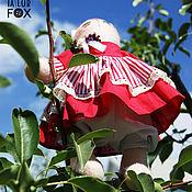 Куклы и игрушки ручной работы. Ярмарка Мастеров - ручная работа Текстильная интерьерная игрушка Тильда-кошечка в красном платьице. Handmade.