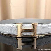 Аксессуары handmade. Livemaster - original item Belt from the abdominal part of the Siamese crocodile, in white.. Handmade.
