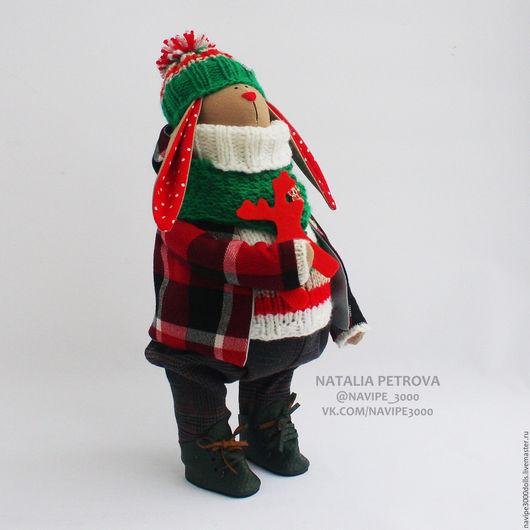 Куклы Тильды ручной работы. Ярмарка Мастеров - ручная работа. Купить Новогодний заяц №6 (интерьерная игрушка). Handmade. Комбинированный