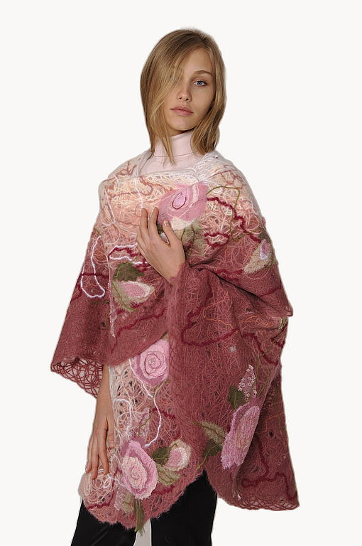 Shawl, wrap Pink Garden embroidered, Ponchos, Moscow,  Фото №1