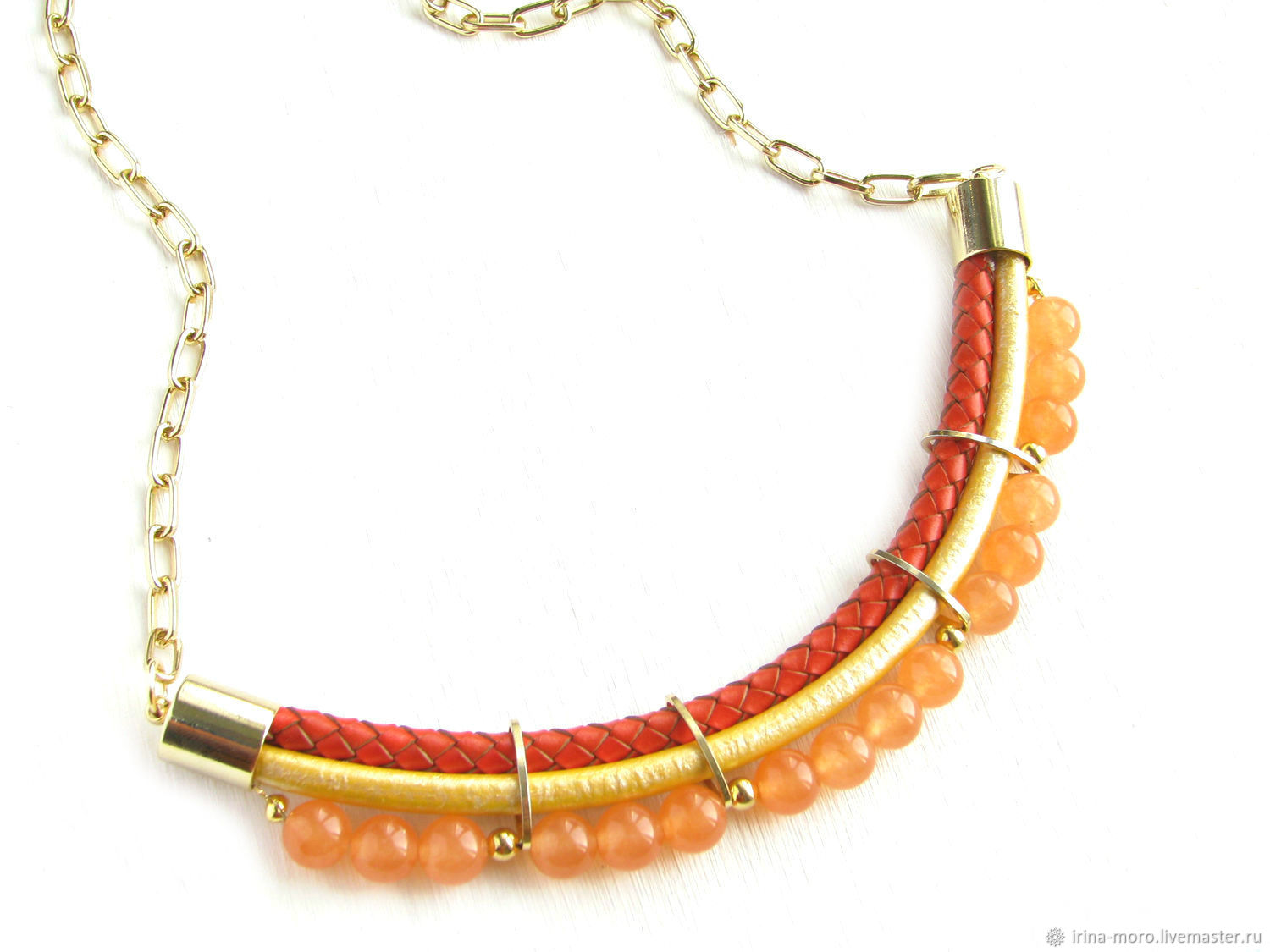 Citrus necklace leather necklace with agates Golden-orange, Necklace, Moscow,  Фото №1