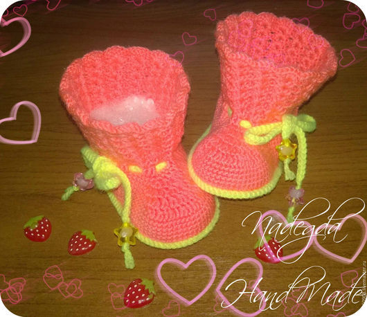 Обувь ручной работы. Ярмарка Мастеров - ручная работа. Купить ажурные сапожки. Handmade. Коралловый, пинетки для девочки, пинетки крючком