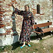 """Штапельное платье """"полянка"""" черное"""