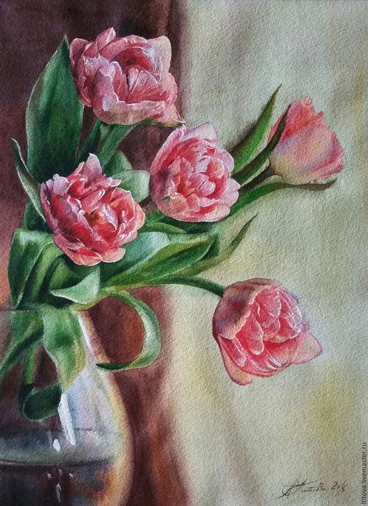 """Картины цветов ручной работы. Ярмарка Мастеров - ручная работа. Купить акварель """"Аромат весны""""/не оформлена/. Handmade. Розовый"""
