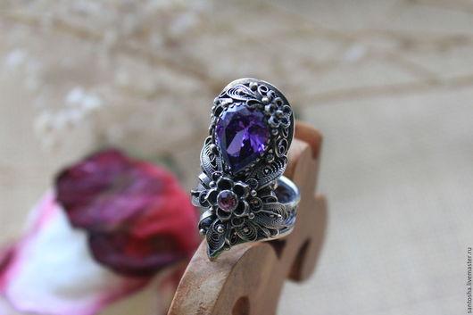 Кольца ручной работы. Ярмарка Мастеров - ручная работа. Купить Перстень «Сумерки». Handmade. Фиолетовый, дорогое кольцо, аметист