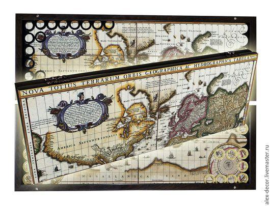 Настольные игры ручной работы. Ярмарка Мастеров - ручная работа. Купить Эксклюзивные нарды OLD MAP -2 (серия S). Handmade.