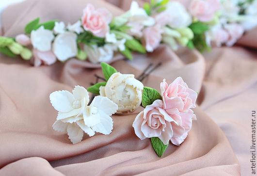 Свадебные украшения ручной работы. Ярмарка Мастеров - ручная работа. Купить Шпильки для свадебной прически. Handmade. Белый, воздушный