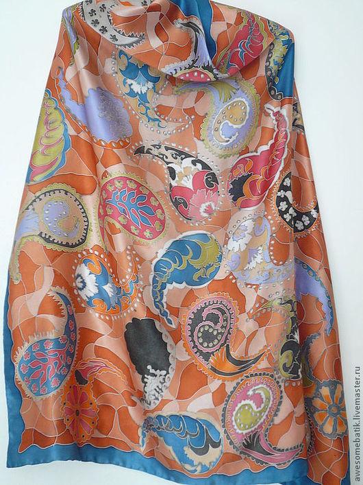 Шали, палантины ручной работы. Ярмарка Мастеров - ручная работа. Купить Шелковый платок батик Пейсли. Handmade. Пейсли