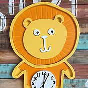 Для дома и интерьера ручной работы. Ярмарка Мастеров - ручная работа Детские настенные часы Лева. Handmade.