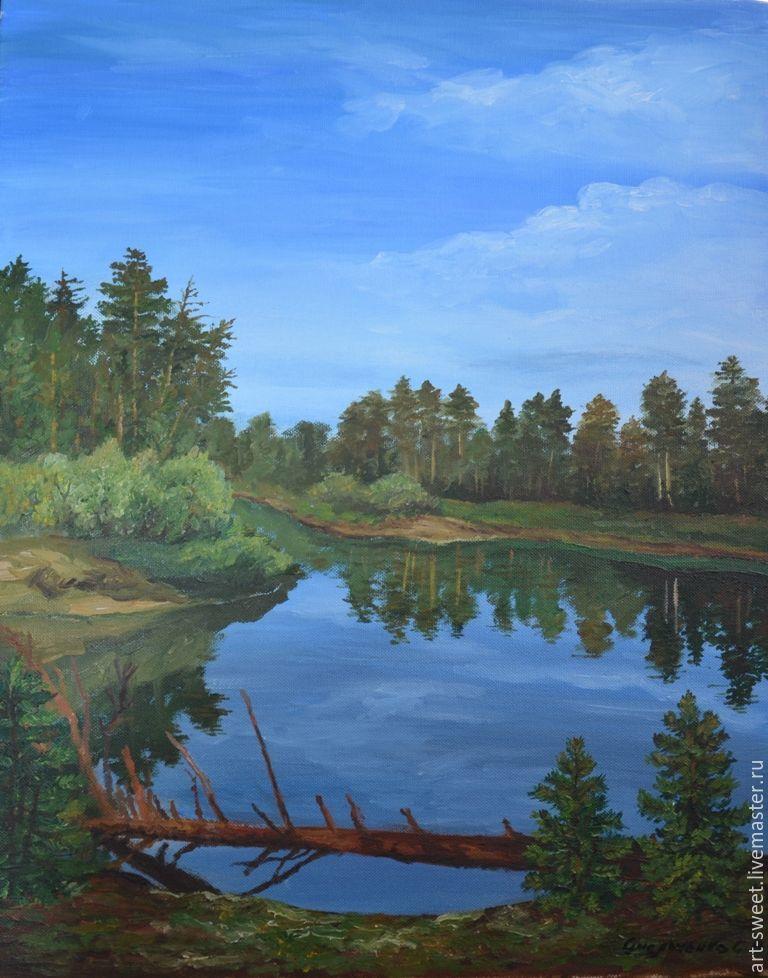 Картина маслом летний пейзаж с рекой на холсте 40х50, Пейзаж, Лянтор, Фото №1