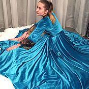 """Одежда ручной работы. Ярмарка Мастеров - ручная работа Бархатный халат """"Королевская Бирюза"""". Handmade."""
