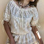 Свадебный салон handmade. Livemaster - original item Dress from sewing and lace in boho style Odette cream short sleeve. Handmade.