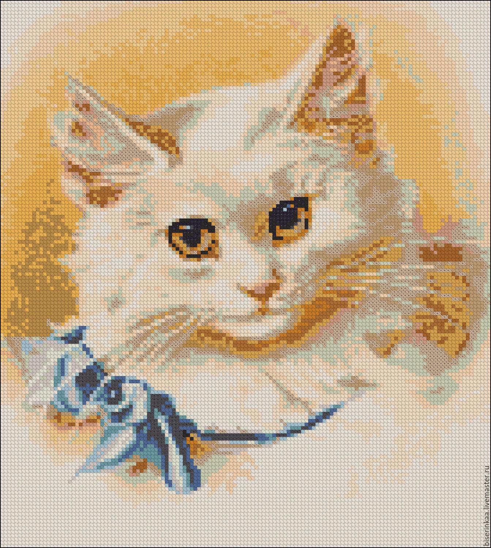 Белый кот вышивка бисером 66