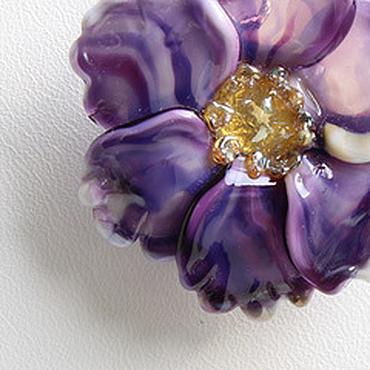 Украшения ручной работы. Ярмарка Мастеров - ручная работа Фиолетовый кулон цветок. Серебро 925 пробы, лэмпворк lampwork, желтый. Handmade.