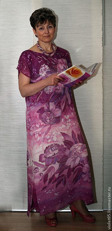 Платья ручной работы. Ярмарка Мастеров - ручная работа. Купить ЛЕТО платье батик двуслойное шифон+креп. Handmade. Ручная роспись