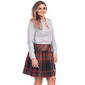 Одежда handmade. Livemaster - original item The plaid skirt brown at the yoke. Handmade.
