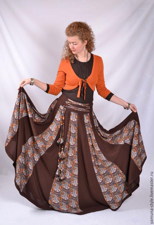 Юбки ручной работы. Ярмарка Мастеров - ручная работа. Купить Летняя юбка 20-клинка коричневая со шнуровкой.. Handmade.