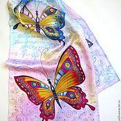 """Шарфы ручной работы. Ярмарка Мастеров - ручная работа Батик шарф """"Разноцветные бабочки"""". Handmade."""