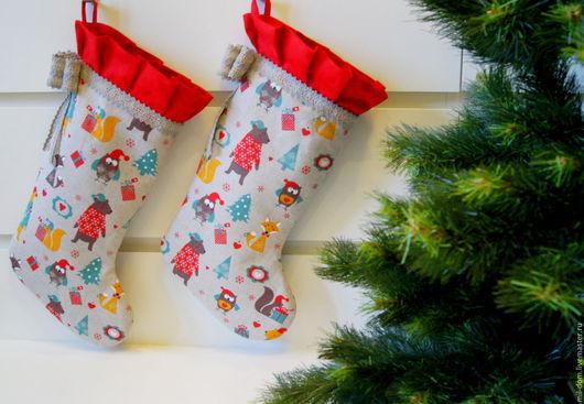 """Новый год 2017 ручной работы. Ярмарка Мастеров - ручная работа. Купить Носок для подарка """"Сказочный лес"""". Handmade. Комбинированный"""