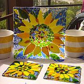 Посуда ручной работы. Ярмарка Мастеров - ручная работа Тарелка Подсолнух из цветного стекла. Handmade.