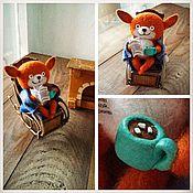 Куклы и игрушки ручной работы. Ярмарка Мастеров - ручная работа Лисёнок в кресле (валяная игрушка). Handmade.