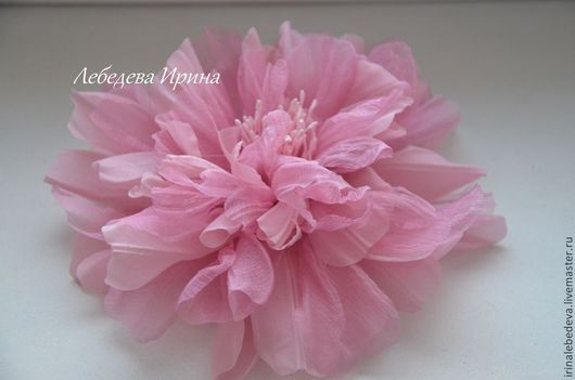 Броши ручной работы. Ярмарка Мастеров - ручная работа. Купить Цветы из шелка. Каламбур. Handmade. Розовый, цветы из шелка