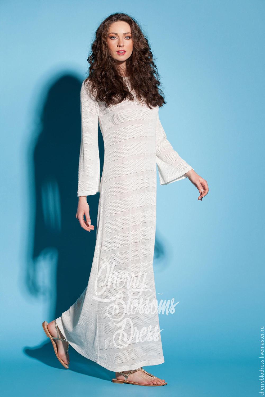 Купить белое длинное пляжное платье