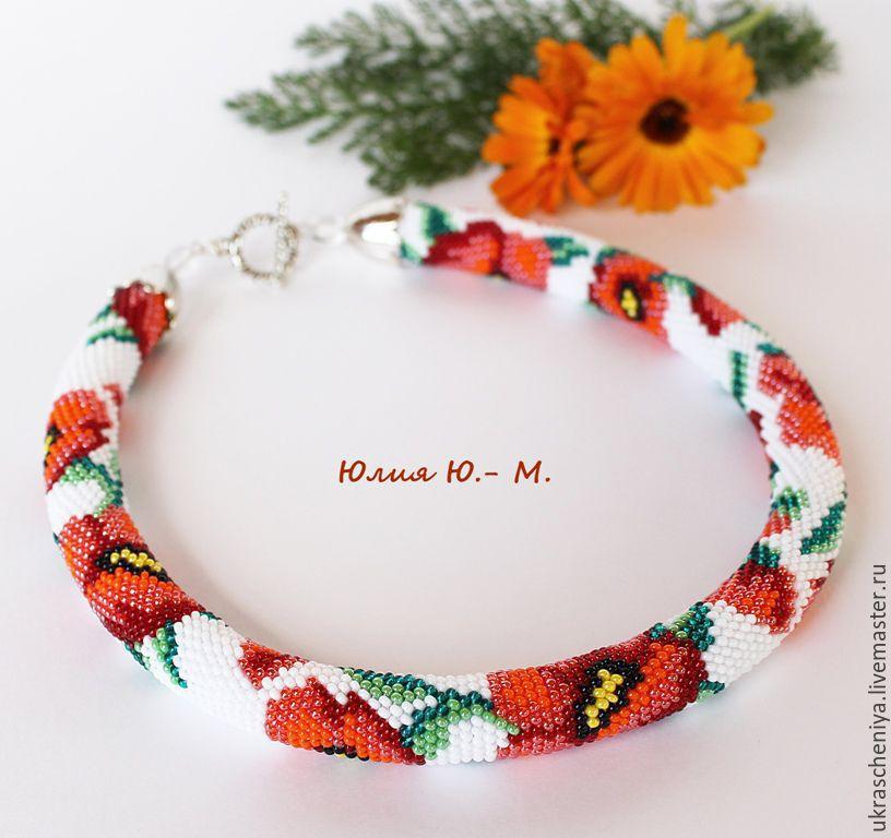 Harness Bead Necklace 'Poppies 2', flowers, crocheted harness, Maki, Necklace, Ryazan,  Фото №1