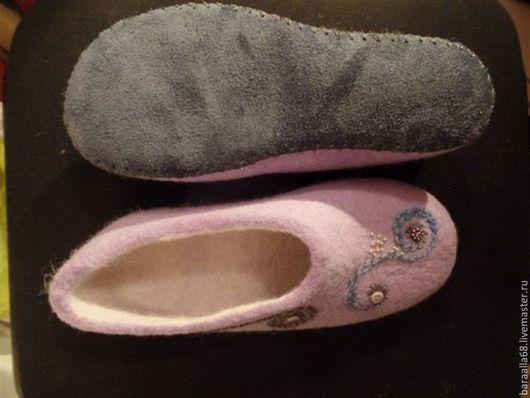 Обувь ручной работы. Ярмарка Мастеров - ручная работа. Купить Валяные тапочки. Handmade. Сиреневый, Тапочки ручной работы