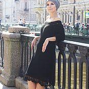 Одежда ручной работы. Ярмарка Мастеров - ручная работа Вязаное платье из хлопка ( чёрное платье). Handmade.
