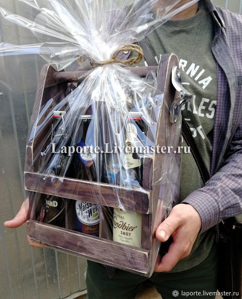 """Пивной ящик подарочный """"Чёрный принц"""" с открывалкой – купить на Ярмарке Мастеров – G47ADRU   Оформление бутылок, Москва"""