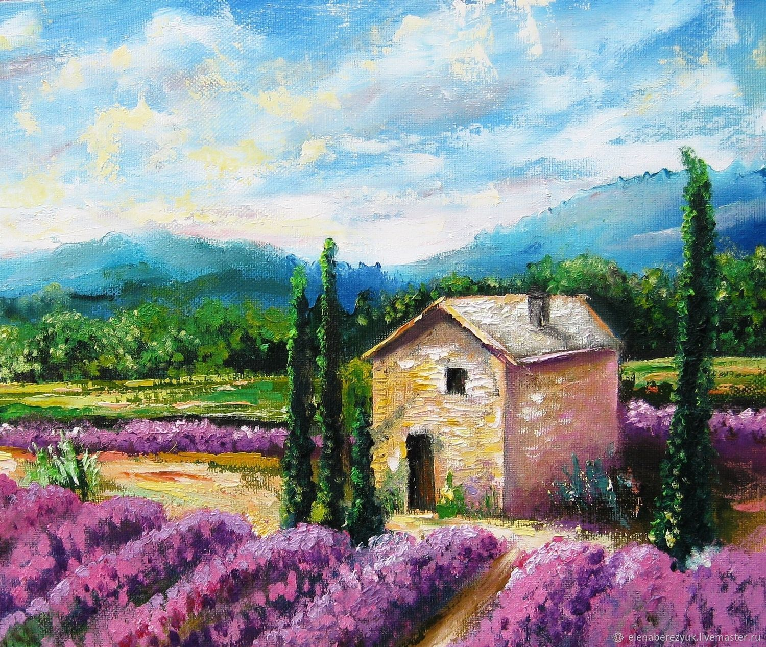 Lavender field original oil painting summer landscape for Oil painting scenery