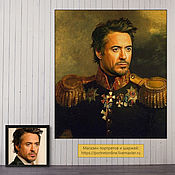 Картины и панно handmade. Livemaster - original item Portrait of a man in the image of a hussar. Painting by photo to order, Robert Downey. Handmade.