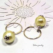 Украшения handmade. Livemaster - original item 925 sterling silver round stud earrings with pearls. Handmade.