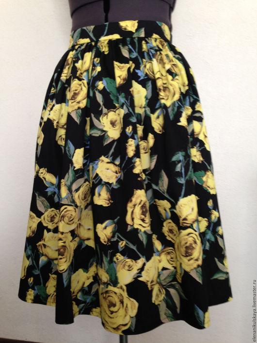 """Юбки ручной работы. Ярмарка Мастеров - ручная работа. Купить Юбка с карманами """"Желтые розы"""". Handmade. Черный, юбка"""