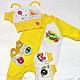 """Для новорожденных, ручной работы. Ярмарка Мастеров - ручная работа. Купить Комплект на выписку """"Солнечный день"""". Handmade. Желтый, пинетки"""