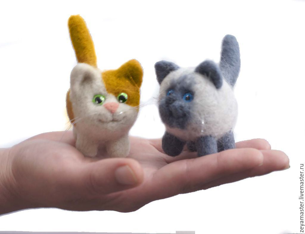 Kitty, little. felted toy made of wool, Felted Toy, Zeya,  Фото №1